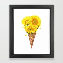 Ice cream with sunflowers Framed Art Print