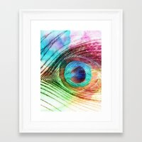 peacock feather Framed Art Prints featuring Peacock Feather by Klara Acel