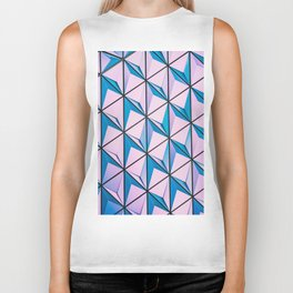 Pink Blue Geometric Triangle Pattern Biker Tank