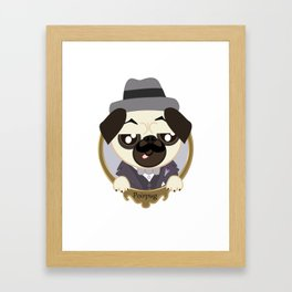 Great Detective Poirpug. Poirot the Pug Framed Art Print