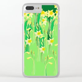Daffodils in green Clear iPhone Case