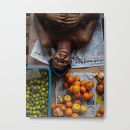 Portrait of a man taking a nap in his fruit store in Colombo | Travel photography Sri Lanka Metal Print