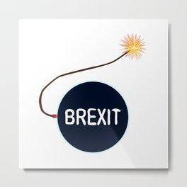 Brexit Black Bomb Metal Print