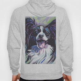 Papillon Fun Dog bright colorful Pop Art Painting by LEA Hoody