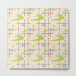 Mid Century Modern in Lime and Blush Metal Print