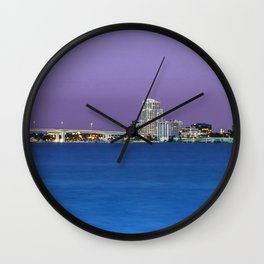 Downtown Clearwater, Florida at Night Wall Clock