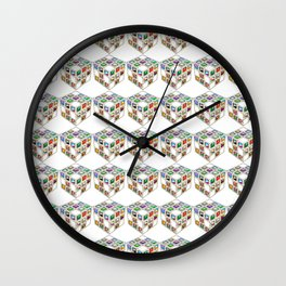 Colorful magic cubes pattern Wall Clock