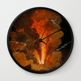 Mount Vesuvius erupting at night, billowing clouds and flashes of lightning Wall Clock