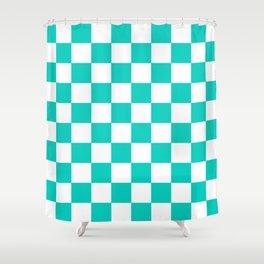 Aqua Blue Checkers Pattern Shower Curtain