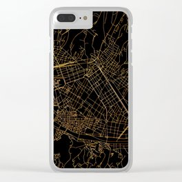 Black and gold Florence map Clear iPhone Case