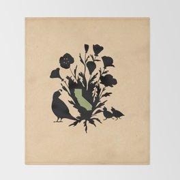 California - State Papercut Print Throw Blanket