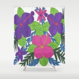 Tropical Hibiscus Bouquet Shower Curtain