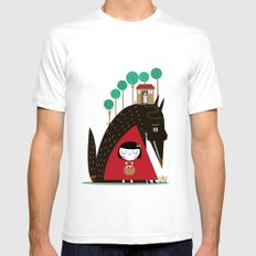 Story telling: little red SMALL Mens Fitted Tee White