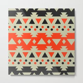 Black and red polka dots with triangles Metal Print