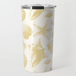 Seashells Pattern 6 - Gold Travel Mug