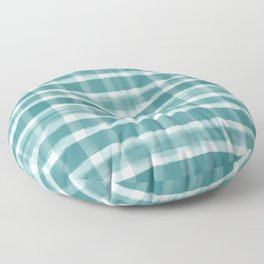 Watercolor Brushstroke Plaid Pattern Pantone Deep Lake Teal 18-4834 on White Floor Pillow