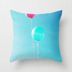 Happy Balloons Throw Pillow