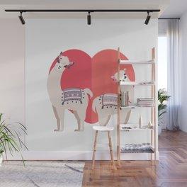 Llama and Alpaca with love Wall Mural