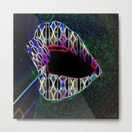 Lipstick Perspective Neon Metal Print