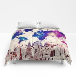 world map city skyline galaxy 2 Comforters