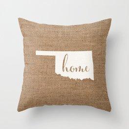 Oklahoma is Home - White on Burlap Throw Pillow