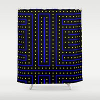 pac man Shower Curtains featuring Pac Track! by Silvio Ledbetter