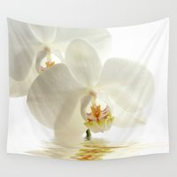 bath Wall Tapestries featuring Orchid in a bath by UtArt
