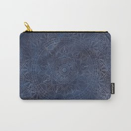 Vintage Circle of Life Mandala full color on blue swirl Distressed Carry-All Pouch