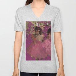 degas ballerinas pink Unisex V-Neck