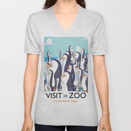 Visit the Zoo Penguins Unisex V-Neck