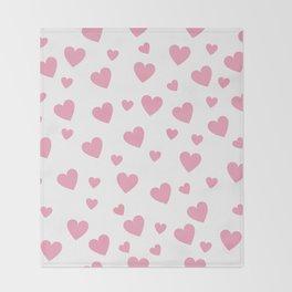 Hearts pattern - pink Throw Blanket