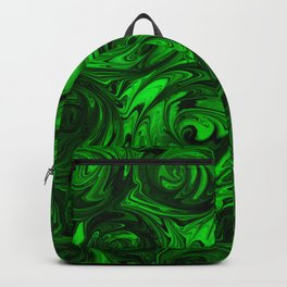Apple Green and Onyx Glass Swirl Abstract Backpack