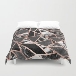 Modern Rose Gold Glitter Marble Geometric Triangle Duvet Cover