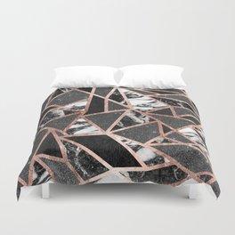 Modern Rose Gold Glitter Marble Geometric Triangle Duvet Cover