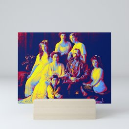 family portrait of Russian Czar Nicholas II, Romanoff Family 1913-14 Neon art by Ahmet Asar Mini Art Print