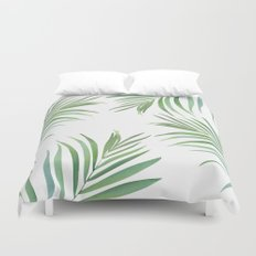 Green Leaf Watercolor Design Duvet Cover