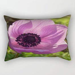 One Delicate Purple Anemone Coronaria Flower Rectangular Pillow