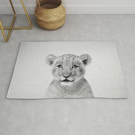 Baby Lion - Black & White Rug