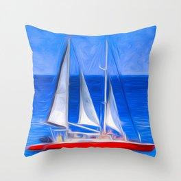 Catamaran Art Panorama Throw Pillow