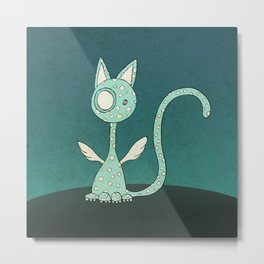 Winged polka-dotted blue cat Metal Print
