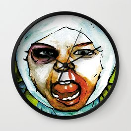 Realistic, Battle Damaged Finn  by Aaron Bir Wall Clock