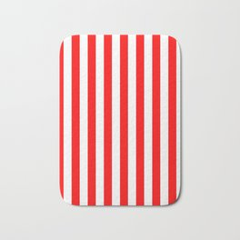 Narrow Vertical Stripes - White and Red Bath Mat