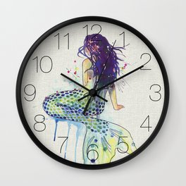 Mermaid - Natural Wall Clock