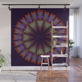 Floral mandala with tribal patterns in the petals Wall Mural