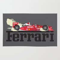 f1 Area & Throw Rugs featuring Ferrari F1 by Lewys Williams