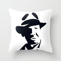 indiana jones Throw Pillows featuring Indiana Jones by Gavin Foster