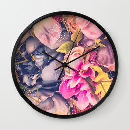 Collage flowers - geometrics Wall Clock