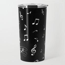 Music White and Black Travel Mug