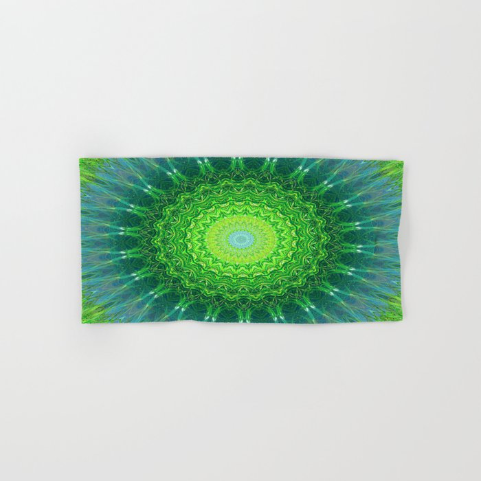 Glowing Green Ribbon Kaleidoscope Hand & Bath Towel