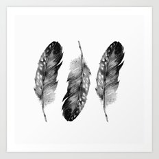 Three Feathers Black And White II Art Print